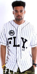 FLY 24/7 365 JERSEY - White w/ Black Pin Stripe