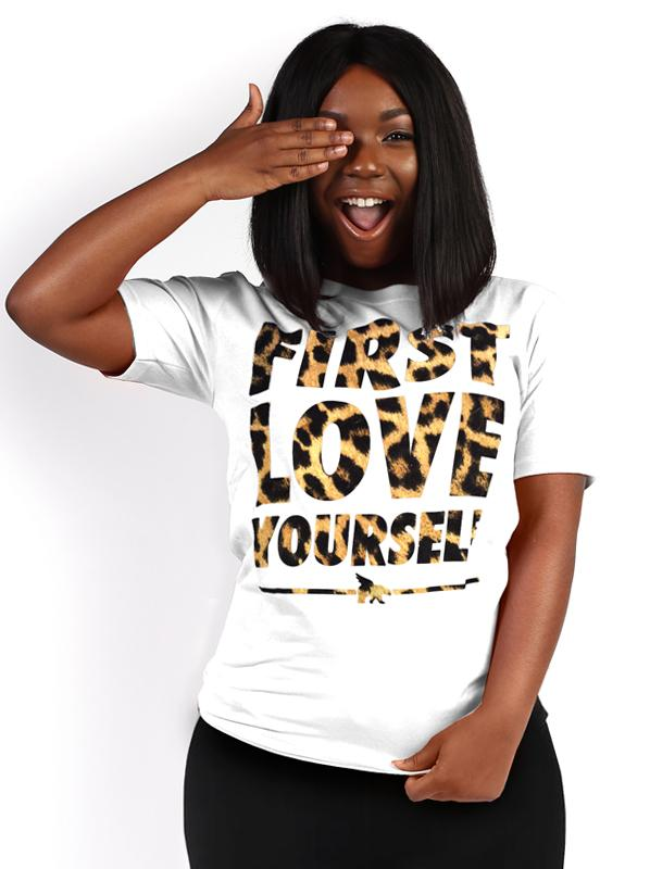 First Love Yourself Leopard Tee (Code: FREESHIP for Free Shipping)
