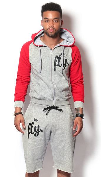 FLY. MENS 2-TONE ZIP-UP SHORTS OUTFIT - RED/GREY