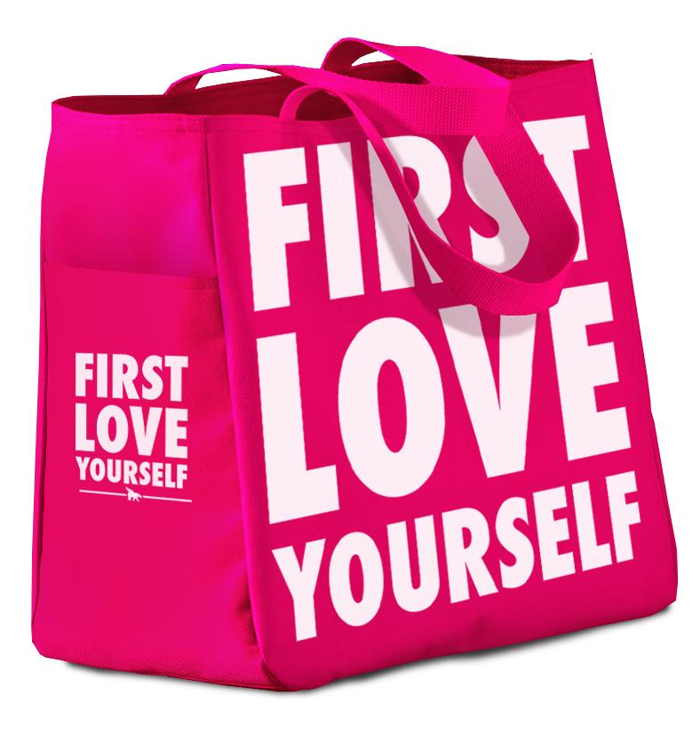 FREE* FIRST LOVE YOURSELF All Day Tote: Pink