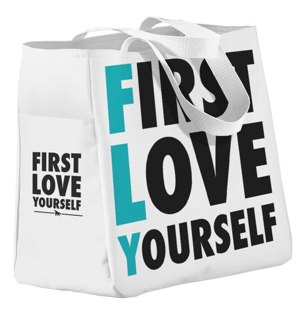 *FREE! FIRST LOVE YOURSELF All Day Tote: White