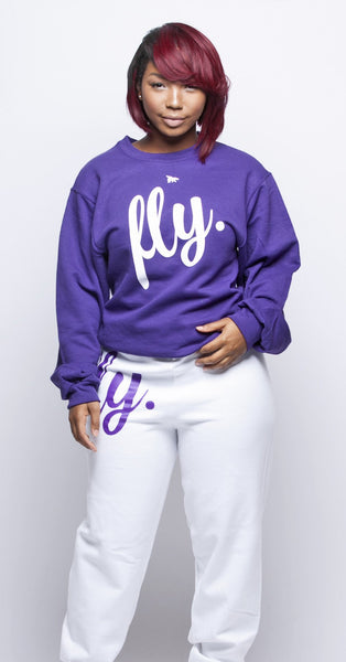 FLY. Comfort Crewneck: Purple/White Print (UNISEX FIT)