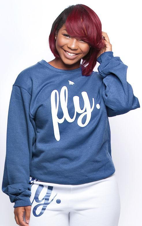 FLY. Comfort Crewneck: Heather Blue/White (UNISEX FIT)