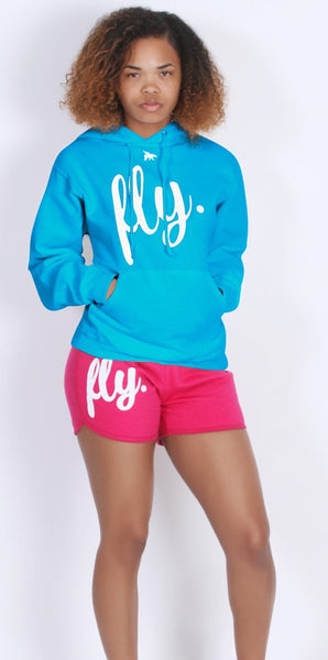 FLY. Comfort Oufit - Cali Blue/White Hoodie W/ Pink Lounge Shorts