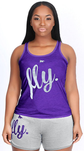 FLY. Tank & Shorts Outfit - Purple/Grey
