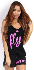 LIVE FLY. Lounging Set: Black w/ Pink Glitter