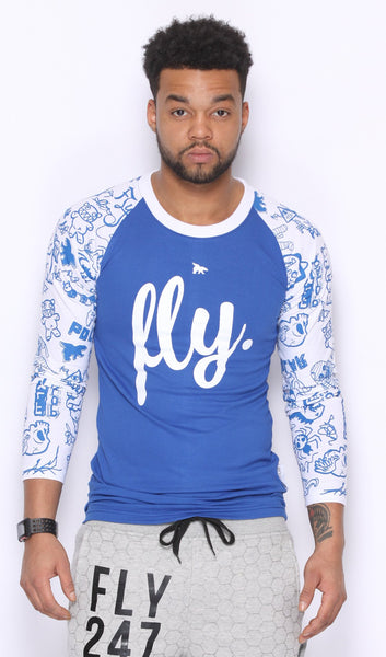 FLY. Raglan - Blue w/ White (UNISEX FIT)