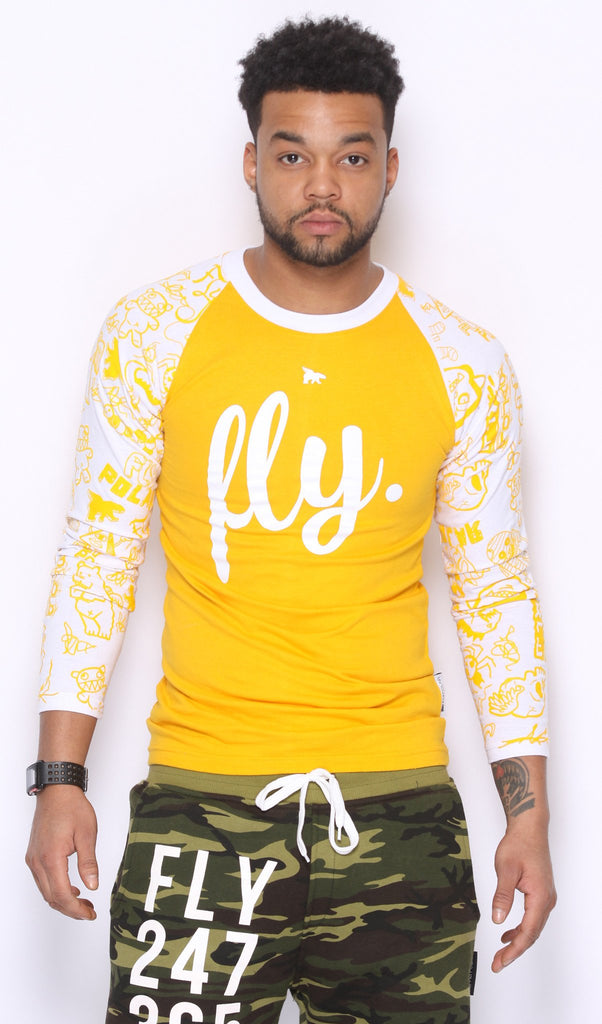 FLY. Raglan - Gold w/ White (UNISEX FIT)