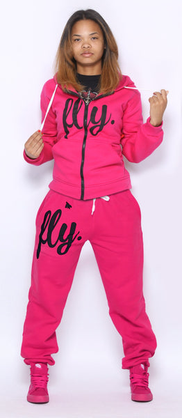 FLY. PINK Hoodie/PINK Pants Sweatsuit ZIP-UP (UNISEX FIT)