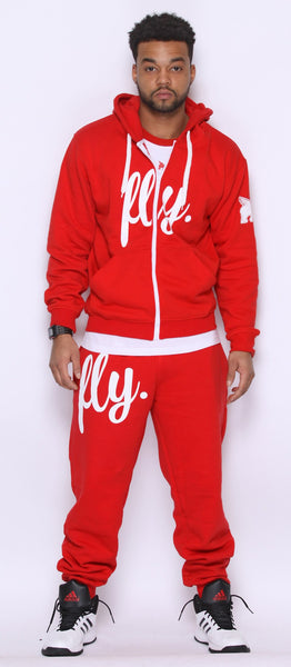 FLY. RED Hoodie/RED Pants Sweatsuit ZIP-UP (UNISEX FIT)