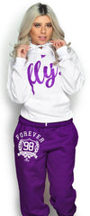 FLY. Comfort Hoodie & FOREVER LOVE YOURSELF Non-Pocketed Pants: White/Purple