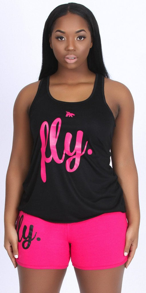 FLY. Tank & Boyfriend Shorts Outfit - Black/Pink