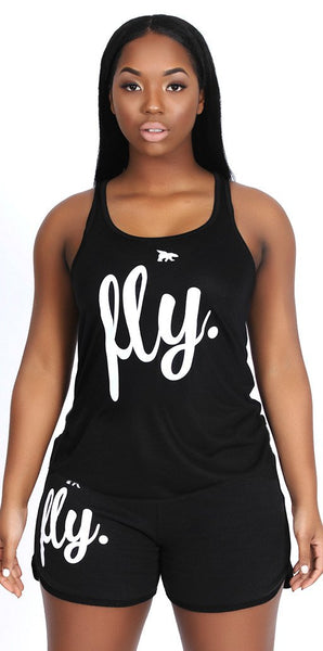 FLY. Tank & Shorts Outfit - Black/Black