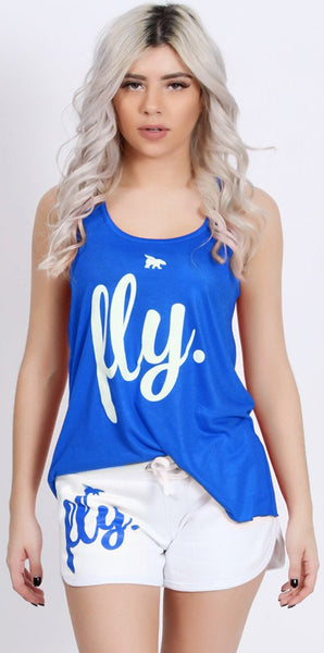 FLY. Tank & Shorts Outfit - Blue/White