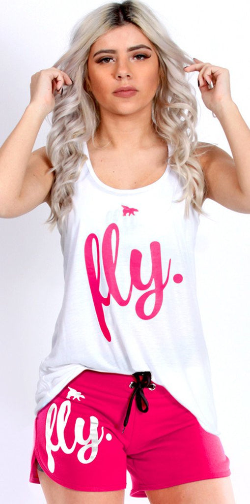 FLY. Tank & Shorts Outfit - White/Pink
