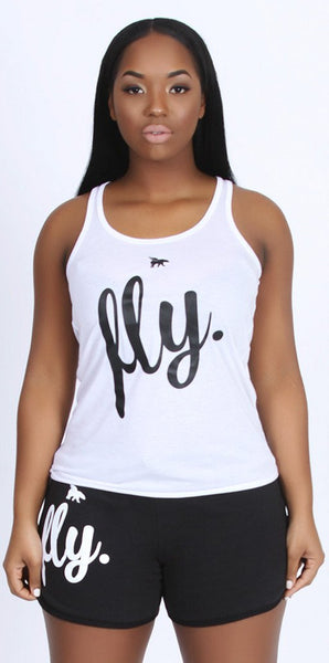 FLY. Tank & Shorts Outfit - White/Black
