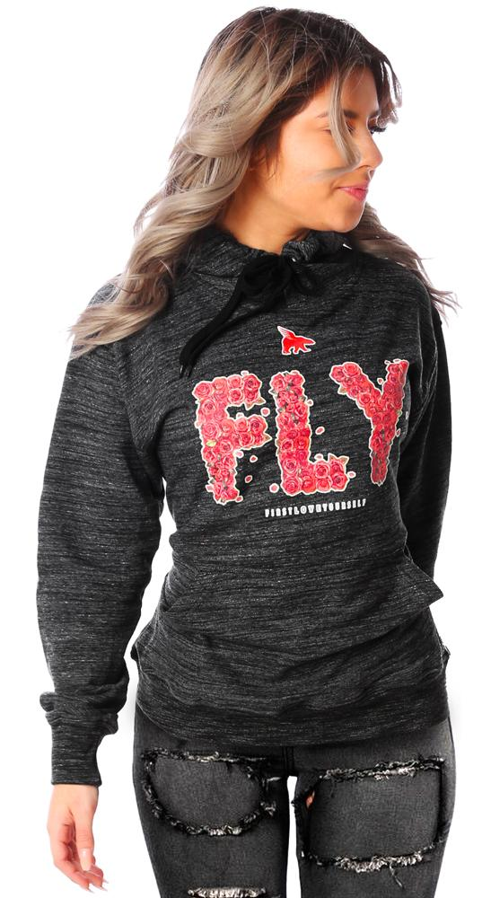 FLY Rose Print Lifestyle Texture Hoodie