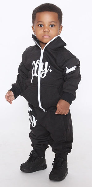 FLY. Toddlers: Zip-Up Hoodie & Pants Sweatsuit (BLACK)