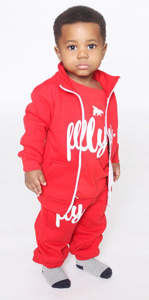 FLY. Toddlers: Zip-Up Hoodie Sweatsuit (RED)