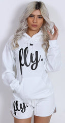 FLY. Comfort Oufit - White Hoodie w/ Lounge Shorts