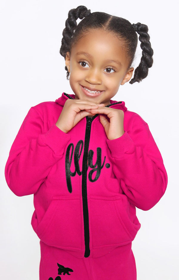 FLY. Toddlers: Zip-Up Hoodie & Pants Sweatsuit (PINK)