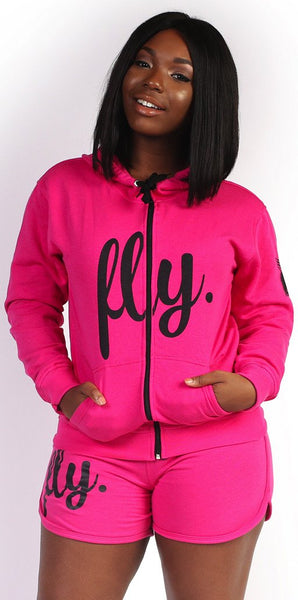 FLY. SHORTS LIGHT ZIP-UP OUTFIT - PINK/PINK