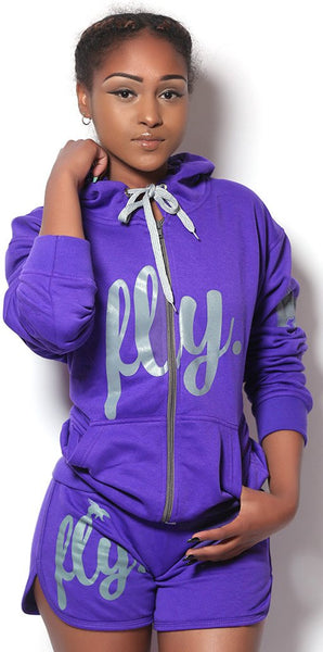 FLY. SHORTS LIGHT ZIP-UP OUTFIT - PURPLE/PURPLE