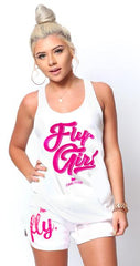 Certified FLY. Girl Tank: White/Pink