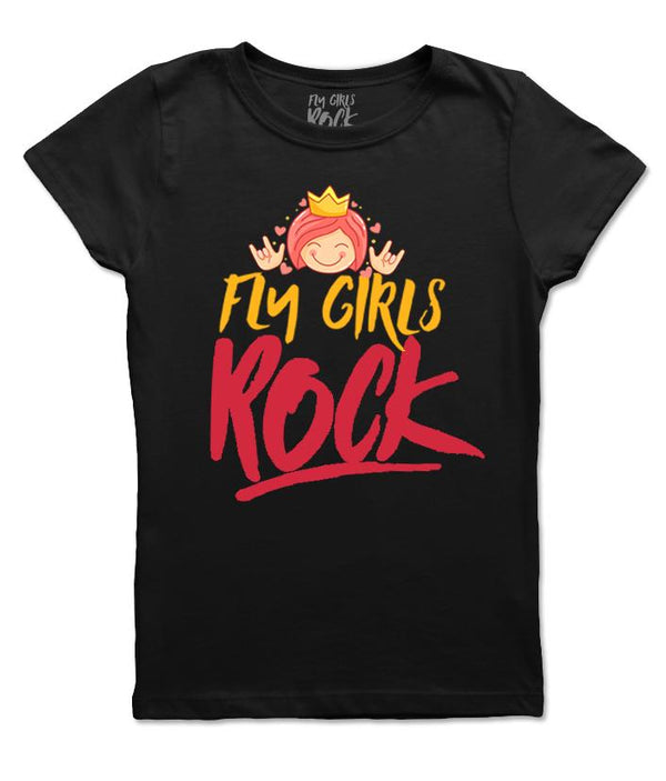 Fly Girls Rock Princess Tee: Black