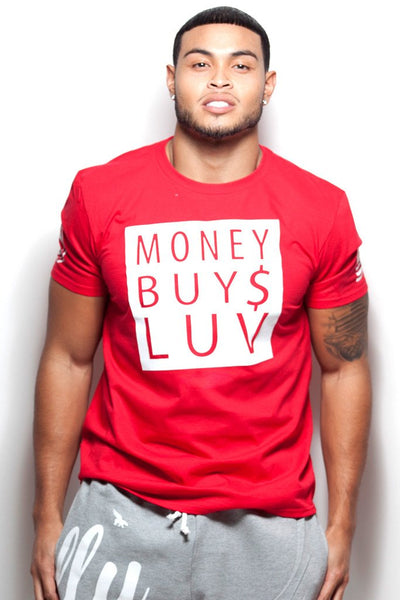 Money Buys Luv tee (Red shirt with White Print)