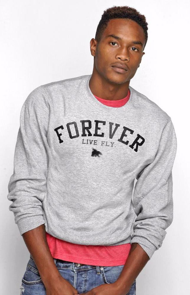 FOREVER LIVE FLY. CREWNECK: GREY (UNISEX FIT)