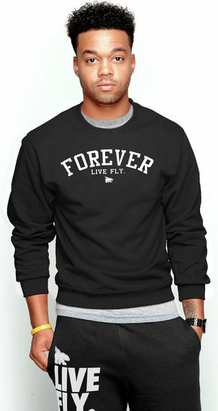 FOREVER LIVE FLY. CREWNECK: BLACK (UNISEX FIT)