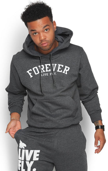 FOREVER LIVE FLY. HOODIE: Dark GREY (UNISEX FIT)