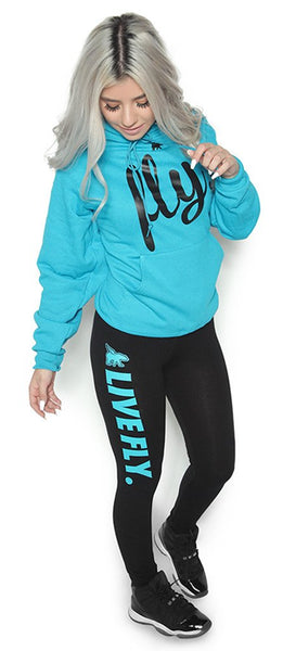 FOREVER LIVE FLY. OUTFIT: CALI BLUE HOODIE/BLACK LEGGINGS