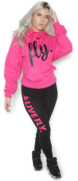 FOREVER LIVE FLY. OUTFIT: PINK HOODIE/BLACK LEGGINGS