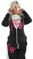 FOREVER LIVE FLY. ZIP-UP HOODIE/SWEATPANTS OUTFIT: BLACK/PINK