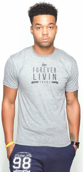 FOREVER LIVIN YOUNG Tri-Blend Tee: Grey