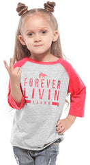FLY. TODDLER FOREVER LIVIN YOUNG Raglan: Red/Grey