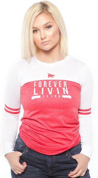 FOREVER LIVIN YOUNG LONG SLEEVE VARSITY Raglan: RED/WHITE