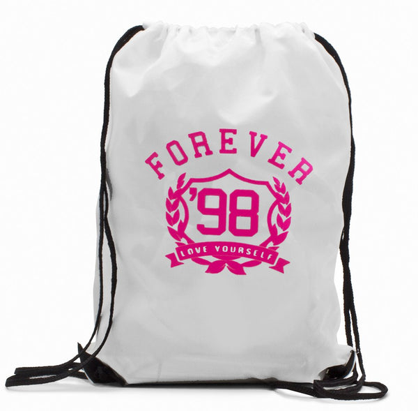 FIRST LOVE YOURSELF Drawstring BackPack: White/Pink