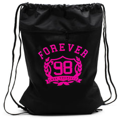 FIRST LOVE YOURSELF Drawstring BackPack: Black/Pink Print