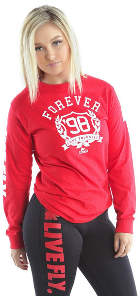 FOREVER LOVE YOURSELF Long Sleeve Shirt: Red