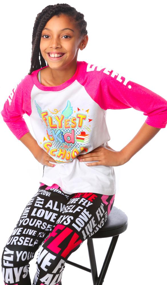 Flyest Kid in School Raglan: Pink/White