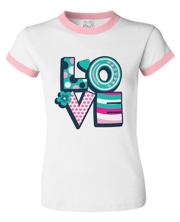 Fly Girls Celebrate LOVE Ringer Tee: White/Pink