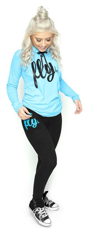 Lifestyle Hoodie Tee & Legging Outfit: Cali Blue/Black