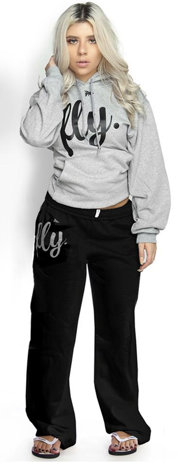 *LIMITED* FLY. Comfort Hoodie Outfit: Grey TOP/Black PANTS