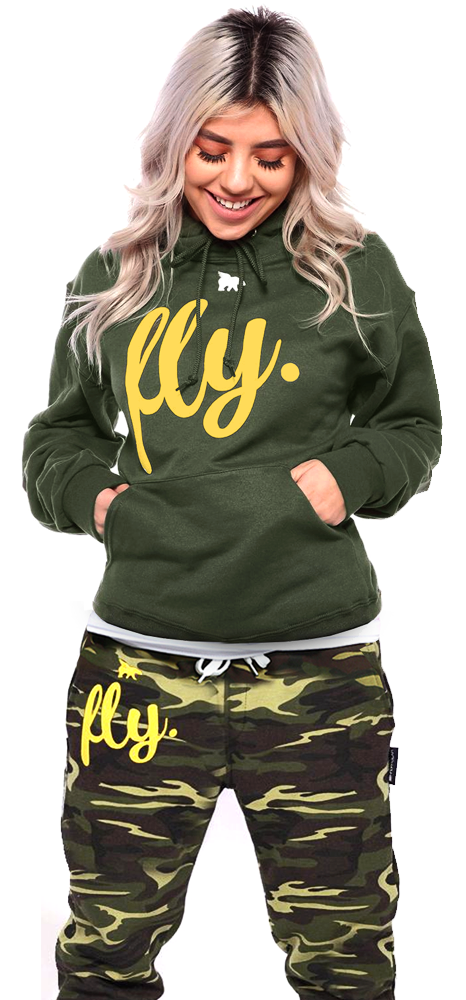 FLY. Comfort Hoodie: Military Green/Gold Print (UNISEX FIT)