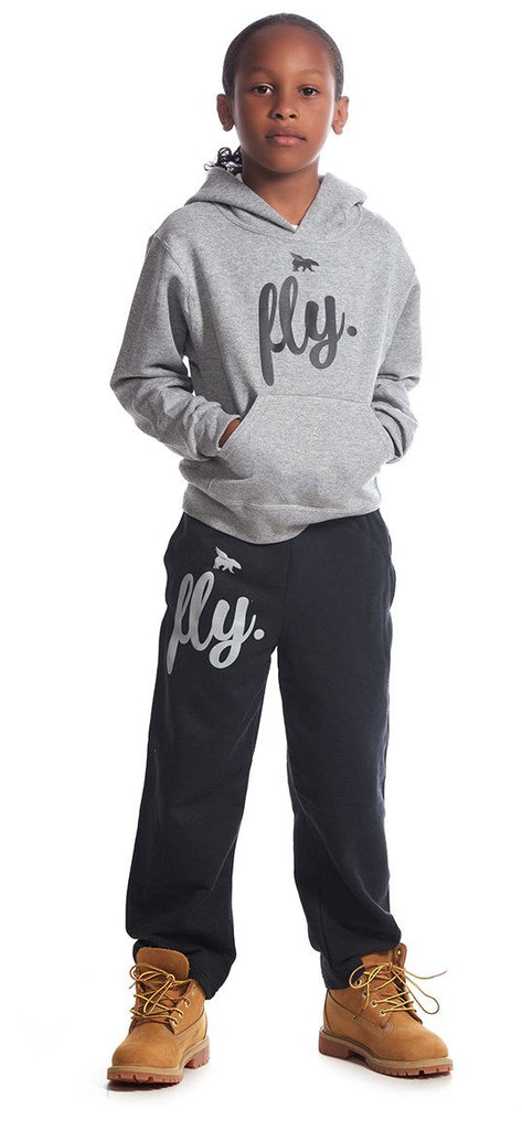 FLY. KIDS Comfort Outfit: Grey Hoodie/Black Pants
