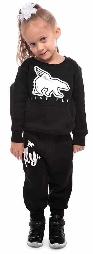 TODDLER POCKETED CREWNECK/JOGGER COMBO: BLACK