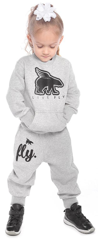 TODDLER POCKETED CREWNECK/JOGGER COMBO: GREY